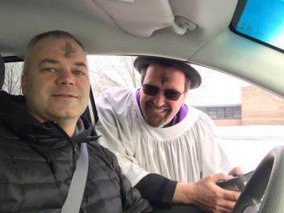 Ash Wednesday service in their cars for morning commuters