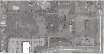 Aerial view photo of the grounds of Holy Trinity Episcopal Church, Wyoming, Michigan.