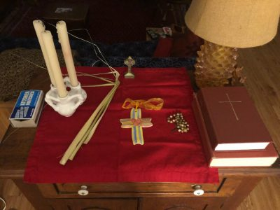 Home altar photo for Holy Week 2020, Charlie Homeyer