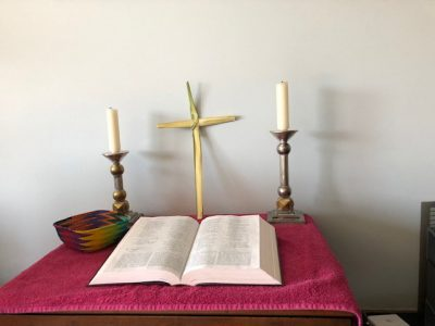 Home altar photo for Holy Week 2020, Harvey family