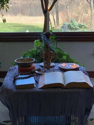 Home altar for Holy Week 2020