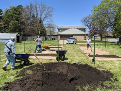 Construction of the raised bed vegetable Good News Garden at Holy Trinity Episcopal Church, Wyoming, Michigan