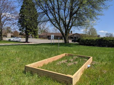 The Good News Garden at Holy Trinity Episcopal Church in Wyoming, Michigan, is starting to appear with this first raised bed.