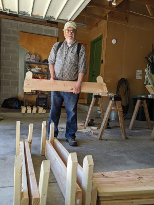 The sides of all 8 raised beds for the Good News Garden at Holy Trinity Episcopal Church in Wyoming, Michigan, are being constructed.